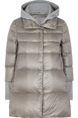 HERNO Women Coats - Ultralite grey quilted shell coat