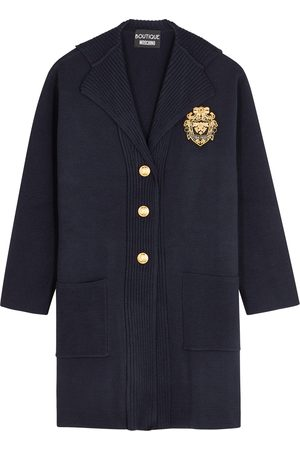 Boutique Moschino Navy appliquéd knitted wool coat