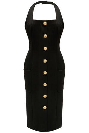 Balmain Buttoned Halterneck Jersey Dress - Womens