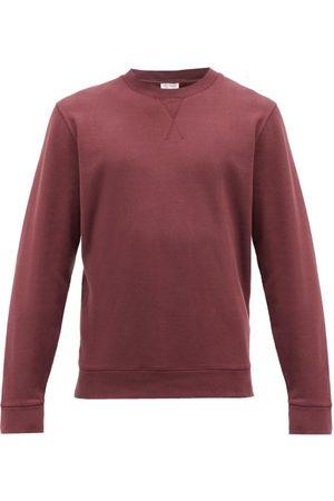 Sunspel Crew-neck Cotton-blend Jersey Sweatshirt - Mens - Burgundy