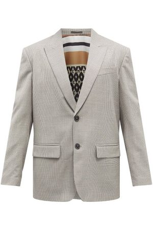 VALENTINO Single-breasted Houndstooth-wool Suit Jacket - Mens - Grey