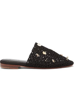 ZYNE Women Loafers - Tulum Shell-embellished Crochet Backless Loafers - Womens