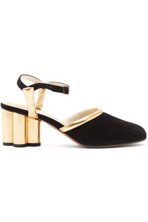Salvatore Ferragamo Altana Cylinder-heel Leather And Suede Pumps - Womens