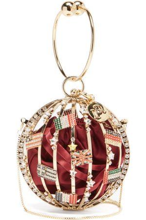 ROSANTICA Alice Mondo Mini Crystal And Satin Clutch Bag - Womens - Burgundy Multi