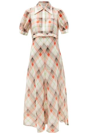 Lee Mathews Eugenie Check Silk-blend Voile Shirt Dress - Womens - Multi