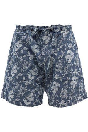YMC Men Shorts - Floral-jacquard Denim Shorts - Mens - Indigo