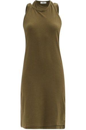 The Frankie Shop Draped Double-layer Cotton-blend Tank Dress - Womens - Khaki