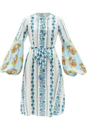 D'ASCOLI Zora Floral-print Cotton-khadi Midi Dress - Womens