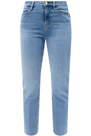 Frame Le High Straight Raw-cut Jeans - Womens - Mid Denim