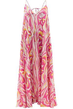 Emilio Pucci Women Printed Dresses - Vortici-print Silk Maxi Dress - Womens - Print