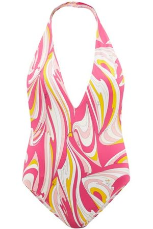Emilio Pucci Women Swimsuits - Plunge-neck Printed Swimsuit - Womens - Print