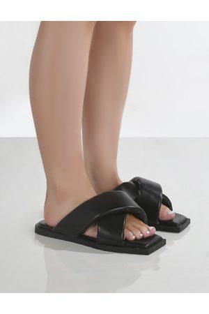 Public Desire Shatter Wide Fit Cross Over Slider Sandals - US 5