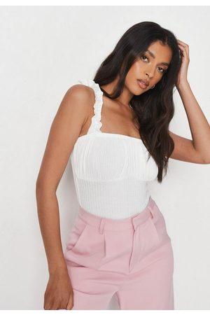 Missguided Rib Ruched Front Ruffle Strap Bodysuit