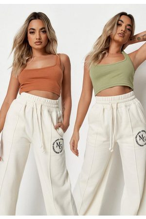 Missguided Khaki And Brown Scoop Neck Bralette 2 Pack
