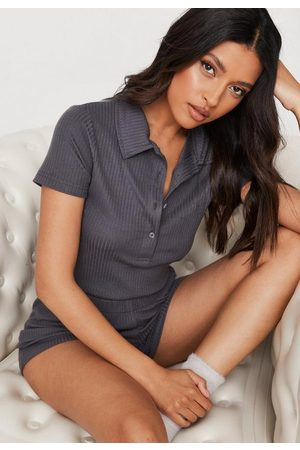 Missguided Charcoal Rib Button Up Loungewear Romper