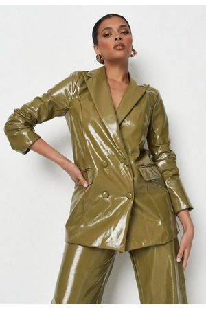 Missguided Olive Soft Faux Leather Blazer