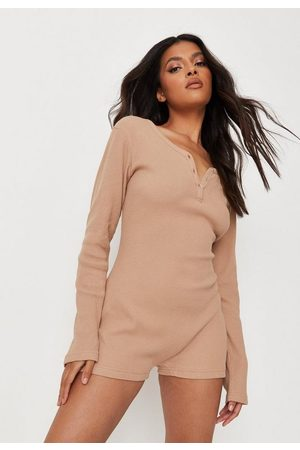Missguided Camel Waffle Button Detail Loungewear Romper