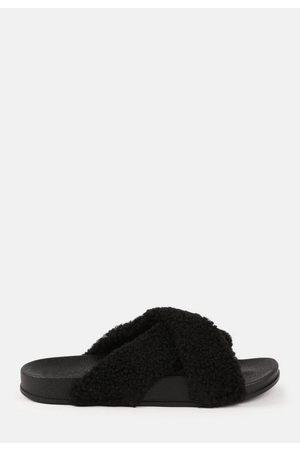 Missguided Faux Fur Cross Strap Sliders
