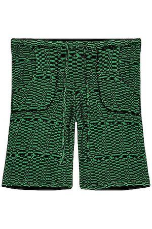 THE ELDER STATESMAN Wrap Check Heavy Sweatshorts in Green