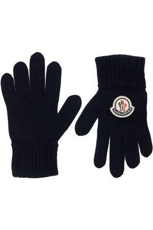 MONCLER Girls Gloves - Logo Wool Blend Knit Gloves