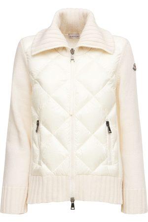 Moncler Women Cardigans - Wool Cardigan Down Jacket