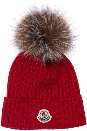 Moncler Girls Hats - Wool Knit Hat W/ Fur Pompom