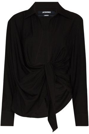 Jacquemus Women Long sleeves - Bahia knot long sleeve shirt