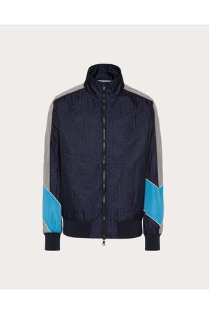 VALENTINO Men Sports Jackets - Nylon Blouson With Optical Valentino Print Man Navy 100% Poliammide 46