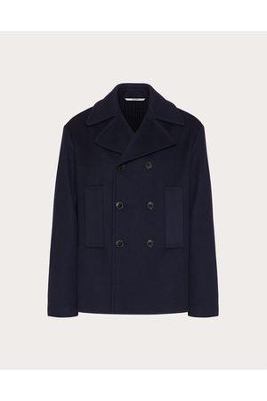 VALENTINO Men Coats - Double Wool Blouson Featuring A Mix Of Materials Man Navy Cashmere 10%, Virgin Wool 90% 46