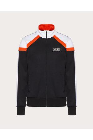 VALENTINO Men Sweatshirts - Technical Cotton Sweatshirt With Vltn Tag Color Block Man /neon Cotton 45%, Polyester 55% L