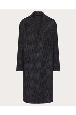 VALENTINO Wool Coat With Optical Valentino Motif Man Grey Virgin Wool 100% 44