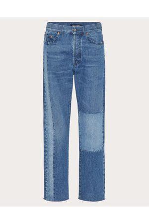 VALENTINO Men Pants - Denim Patchwork Pants Man Navy Cotton 100% 28