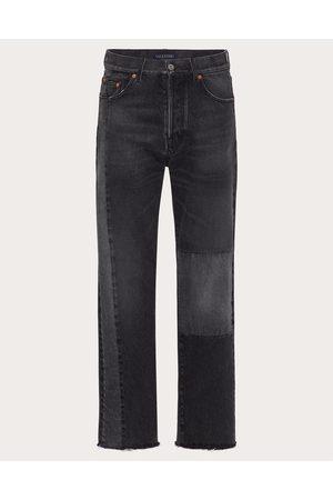 VALENTINO Men Pants - Denim Patchwork Pants Man Grey Cotton 100% 28