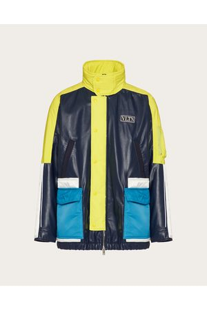 VALENTINO Men Leather Jackets - Leather Pea Coat With Vltn Tag Color Block Man / Polyester 100% 46