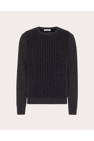 VALENTINO Men Sweatshirts - Wool Crewneck Sweater With Optical Valentino Motif Man Anthracite/ Virgin Wool 100% L