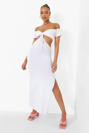 Boohoo Womens Off The Shoulder Tie Detail Cut Out Maxi Dres - - 4