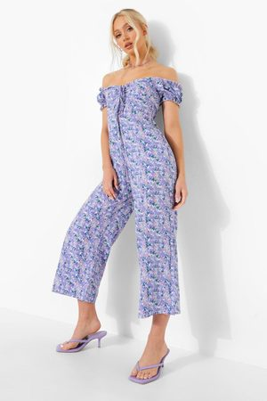 Boohoo Womens Floral Off The Shoulder Cullotte Jumpsuit - - 4