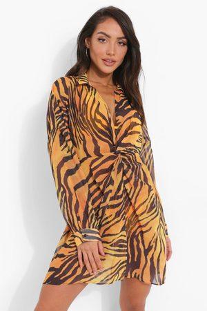 Boohoo Womens Zebra Beach Dress - S