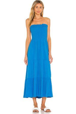 1. STATE Smocked Strapless Midi Dress in .