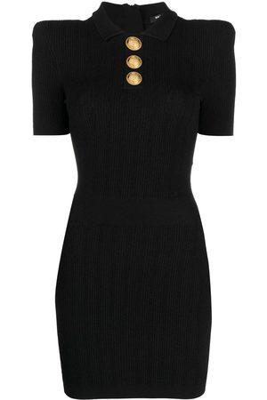Balmain Women Casual Dresses - Rib-knit polo dress