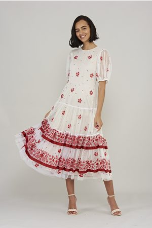 Frock and Frill Lorena Tiered Midi Dress with Floral Detail