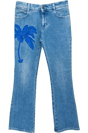 Stella McCartney Denim Palm Embroidered Flared Jeans M