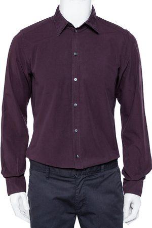 Dolce & Gabbana Men Long sleeves - Magenta Cotton Button Front Shirt L