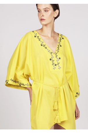 MARAINA LONDON KELSEY floral embroidered cover-up mini kaftan dress in