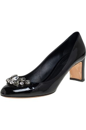Dolce & Gabbana Patent Leather Crystal Embellished Block Heel Pumps Size 40