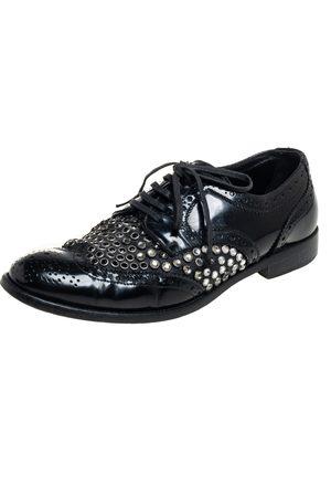 Dolce & Gabbana Brogue Leather Studded Embellished Lace Oxfords Size 38