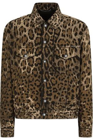 Dolce & Gabbana Men Denim Jackets - Leopard print denim jacket