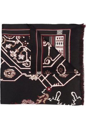 Etro Men Scarves - Geometric-print fringed-edge scarf