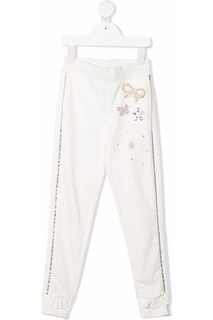MONNALISA Girls Sports Pants - Crystal-embellished sweatpants
