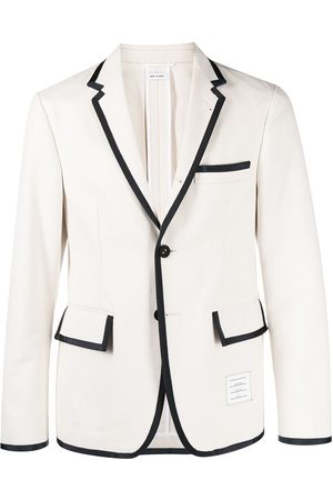 Thom Browne Contrast-border single-breasted blazer - Neutrals